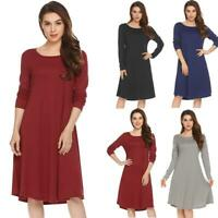 Women Round Collar Long Sleeve Solid Casual Loose Fit Tunic Dress H1PS 08