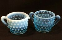 Fenton Aqua Blue Opalescent Hobnail Glass Mini Creamer & Sugar Bowl Set Vintage