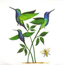 3 x Single SMALL Paper Napkins Decoupage Craft Green Birds Spring Flowers S189