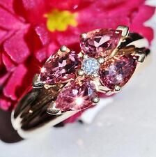 14k yellow gold ring 2.30ct rhodolite garnet diamond size 7 vintage  4.5gr