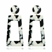 Cute New Fashion Jewelry Black & White Geometric Acrylic Stud Dangle Earrings