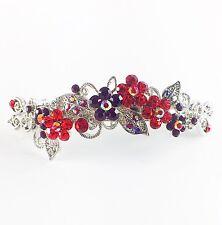 USA BARRETTE Rhinestone Crystal Hairpin Clip Metal Vintage Elegant RED 07