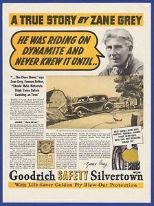 Vintage 1937 GOODRICH Safety Silvertown Tires Zane Grey Art Decor Print Ad 30's