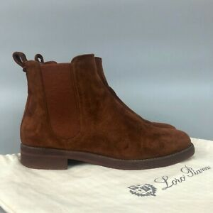 Loro Piana Ladies Brown Suede Leather Chelsea Ankle Boots Shoes Size 37.5 UK4.5