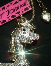 Betsey Johnson Crystal Cartoon Horse Pendant Necklace
