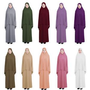 Muslim Long Hijab Maxi Dress Overhead Set Prayer Women Clothes Abaya Arab