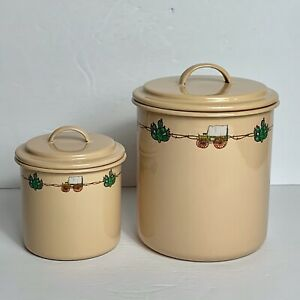 Marble Canyon Enamelware Canisters Covered Wagon and Cactus Set of 2