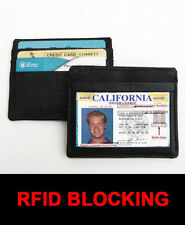 BLACK MENS LEATHER THIN SLIM Wallet Holder Money Credit Card ID Window RFID SAFE