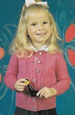 "Toddler's/girl's lacy panel cardigan knitting pattern 22"" - 30"" 4 ply & DK 217"