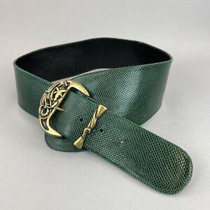"Vintage Green Leather Boho Wide Buckle Belt Size 41"" Long Length End to End"