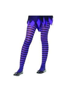Kids Black and Purple Striped Tights