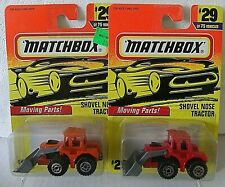 MATCHBOX SUPERFAST 1997 - 2 VARIATIONS OF THE SHOVEL NOSE TRACTOR - CARD # 29