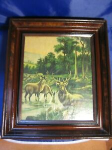 "19c Victorian Antique Picture Frame 12""x10"" picture Deer Scene Nice Wood Frame"