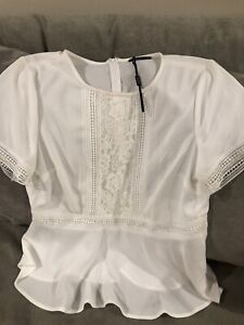 New Tokito Myer White Broderie Lace Top Size 14