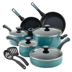 Cookware Set Lid Modern Durable Aluminum Nonstick Gulf Blue Speckle 12-Piece