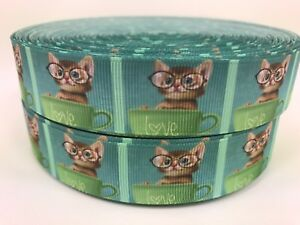 """Sale 5 Yards 1"""" Printed Green Cats Kitten In A Cup Love Grosgrain Ribbon Lisa"""