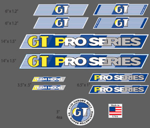 GT 88 PRO SERIES Team Model Blue White Decal Stickers Frame Fork Old School BMX