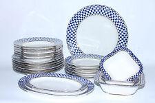 Russian Imperial Lomonosov Porcelain Table Service Cobalt Net Russia 22k Gold