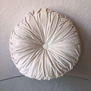 Lush Decor Round Pleated Soft Velvet Throw Pillow White