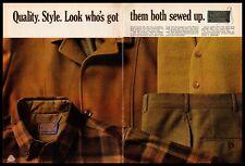 1968 Pendleton Plaid Shirt Cardigan Jacket Fall Colors 2-Page Vintage Print Ad
