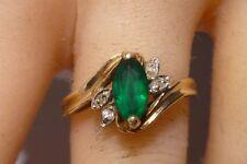 Marquise Emerald & Diamond 140K Yellow Gold Ring Amazing Stunning