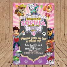 Personalised DIGITAL PAW PATROL Girls Birthday Party Invitations YOU PRINT