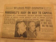 Vintage Newpaper - St. Louis Post - April 13, 1945 - Roosevelt's Body