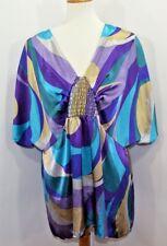 VTG Lane Bryant Silky Blouse Purple Gold Blue Flowy Women's 18/20 Made in USA