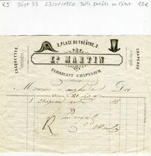 Dépt 33 - Libourne 2 Place du Théâtre - Belle Entête Fabricant Chapelier de 1860