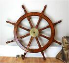 "36"" Brass Nautical Big Ship Steering Spoke Wheel Wooden Teak Pirate Ship's Decor"