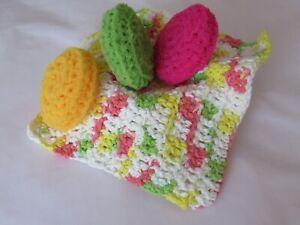 Handmade Dishcloth, Crocheted Washcloth, 3 Dish Scrubbies, Pot Scrubbers, New