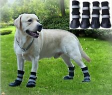 Pet Dog Long Tube Shoes Large Dog Shoes Wear Resistant Snow Boots Black  4pcs