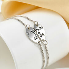 2Pcs Partners in Crime Best Friends Charm Silver Plated Heart Bracelet BFF Gift