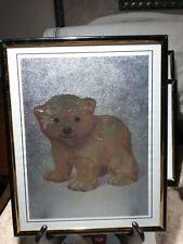 Framed Metal Etching ~ Foil Art 8 x 10 Baby Polar Bear