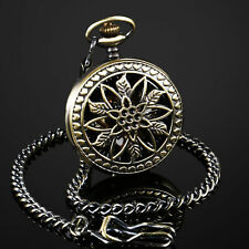 Stainless Steel Case Hollow Chain Luxury Ess Mens Pocket Watch Mechanical Bronze