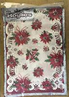 Vintage Roylies Christmas Poinsettias Bells Paper Placemats Set of 12