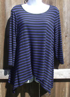 CABLE & GAUGE CASUAL BLUE MULTI STRIPED VISCOSE BLEND ¾ SLEEVE TOP BLOUSE M NEW