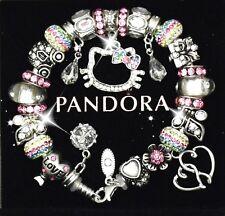 Authentic 925 Silver Pandora Bracelet w/European Charms Rainbow Hello Kitty New