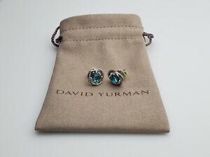 David Yurman sterling silver 925 Infinity Stud Earrings with Blue Topaz 7mm