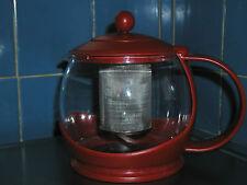 Red PYREX TEA Basket INFUSER Steeper Kettle - glass & plastic
