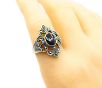 925 Sterling Silver - Vintage Black Onyx & Marcasite Cocktail Ring Sz 9 - R13715