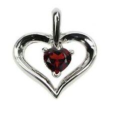 Corazón De Granate Colgante De Plata Con Cadenilla ZDP1543