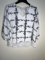 LC Lauren Conrad Women Long Sleeve Top Floral, Blouse, Size XL,