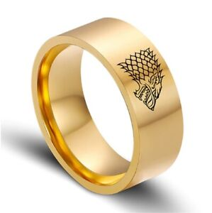 Game of Thrones House Stark Winterfell gold tone band ring steel 8mm