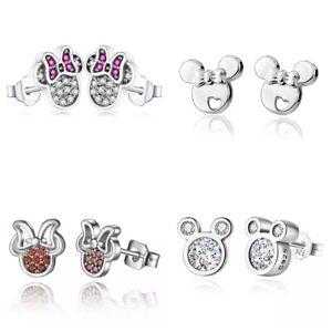 Kinder Ohrringe Mickey Mouse echt 925 Silber Mädchen Ohrringe Sterling Süß
