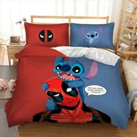 Deadpool & Stitch Design Duvet Cover with Pillow Cases Bedding Set All Sizes Bed