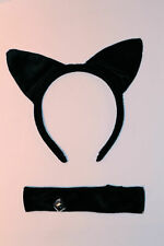 BLACK CAT EARS ALICE BAND & COLLAR WITH BELL, GREAT HEN PARTY FANCY DRESS PARTY!
