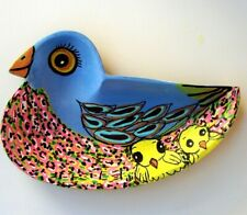 FOLK ART OUTSIDER Bird/chicks Colorful wood bowl painting acrylic painting Grant