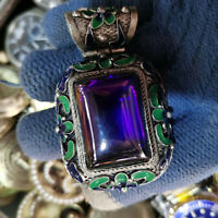 Chinese Old Craft  Made Old Tibetan Silver Cloisonne Inlaid Zircon Pendant