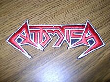 ATTOMICA,IRON ON RED WITH WHITE EDGE EMBROIDERED PATCH